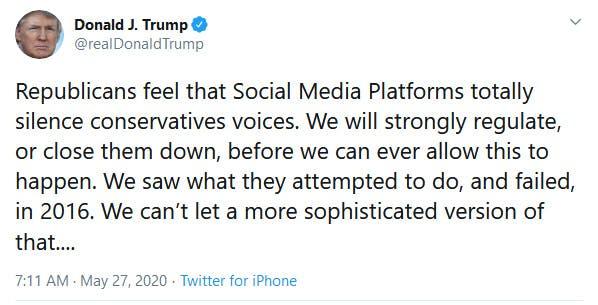 Donald Trump Social Media Close Them Down Tweet