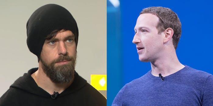 Jack Dorsey Mark Zuckerberg Twitter Facebook Donald Trump Fact Check