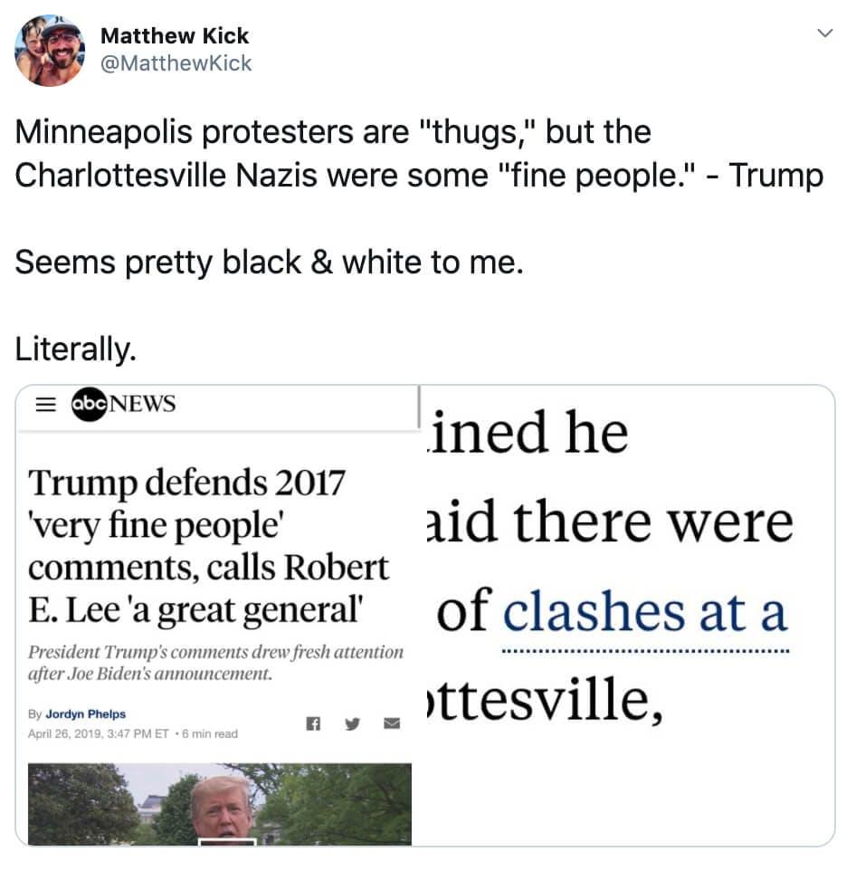 Glorifying violence - Charlottesville