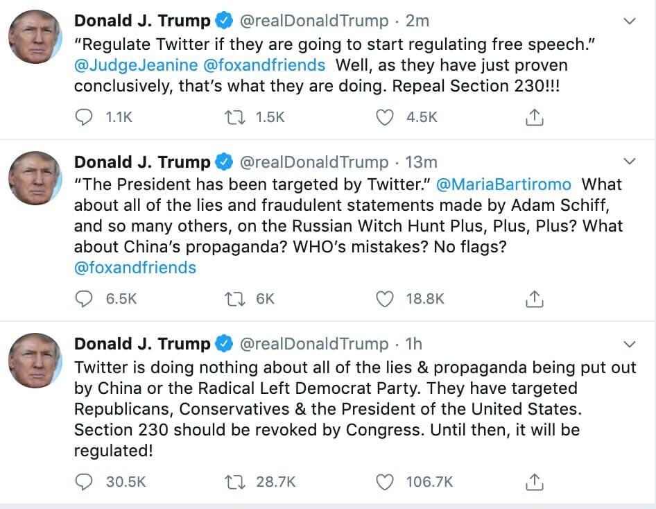 Glorifying violence - Trump response