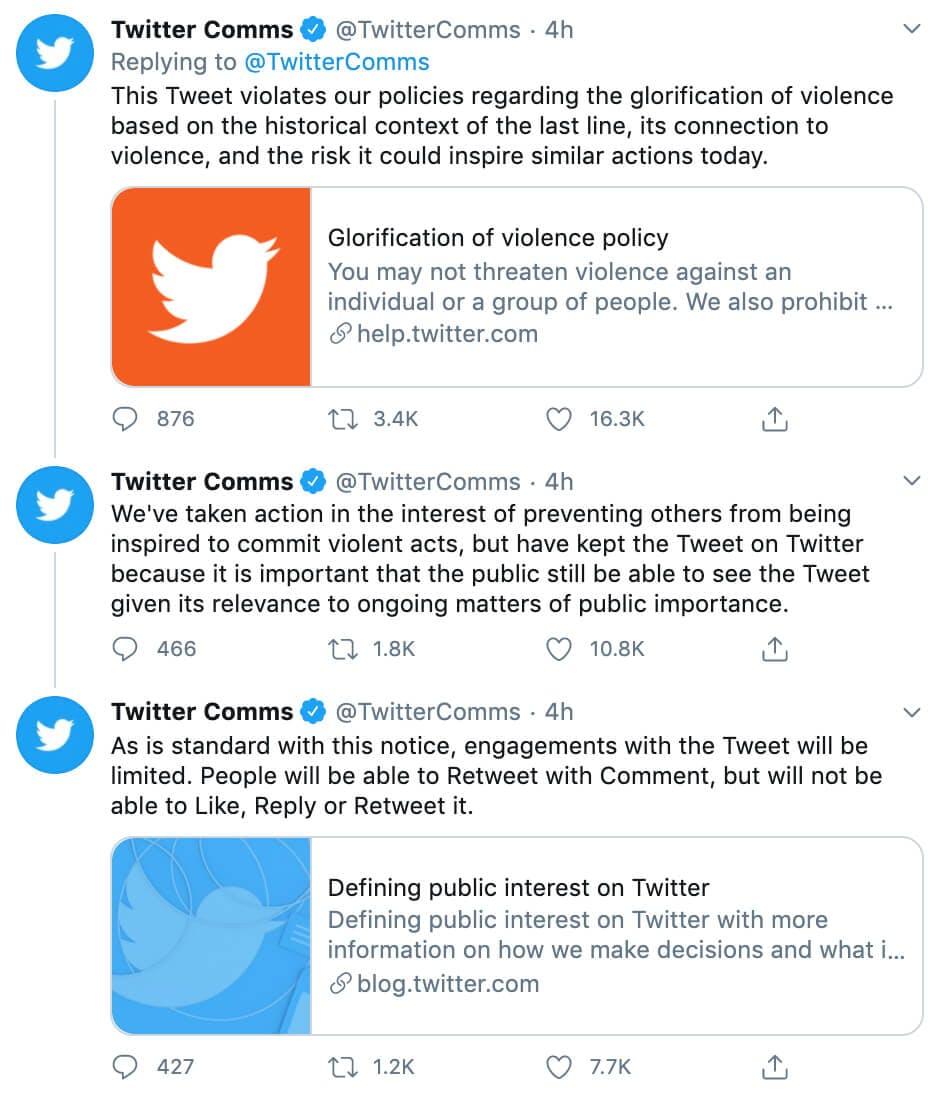 Glorifying violence - Twitter