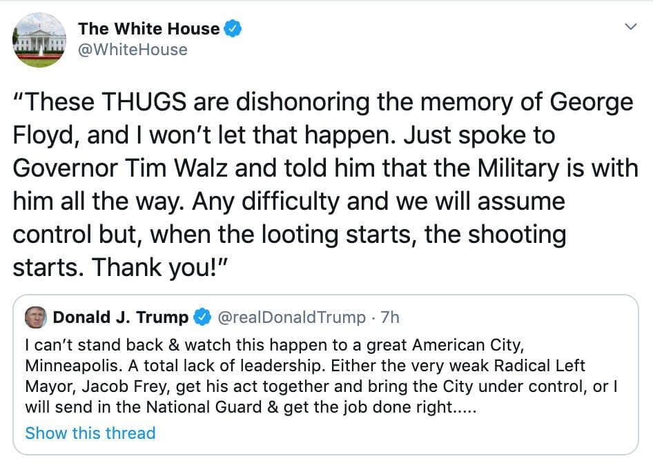 Glorifying violence - white house