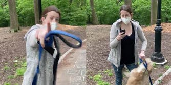 White woman Amy Cooper in Central Park yelling and pointing at Black man