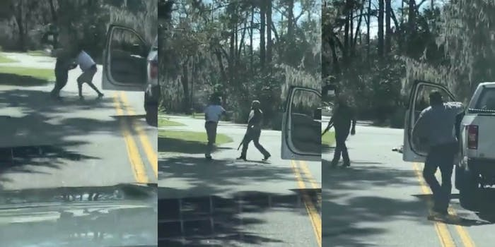 screenshots from video of two white men shooting and killing a black jogger