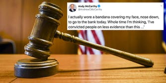 A gavel in a courtroom next to a tweet