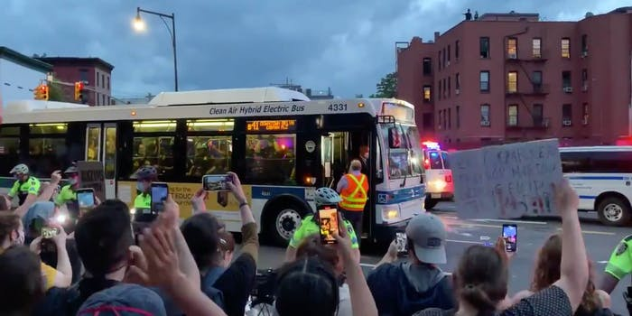 bus refuse transport protesters