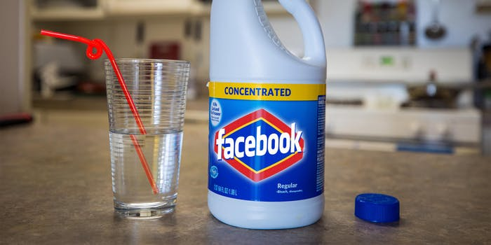 bleach bottle with facebook branding next to glass with drinking straw