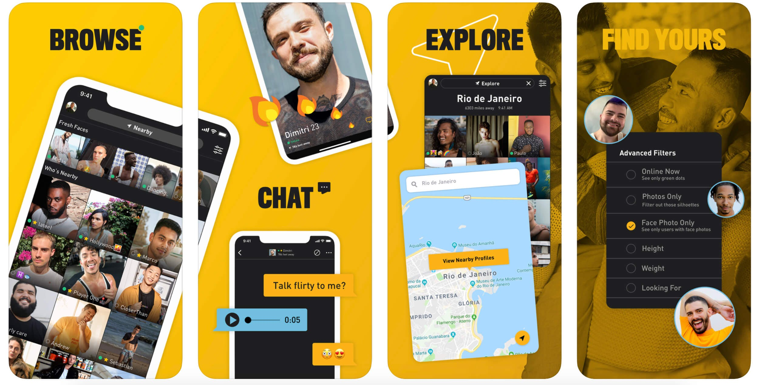 Screenshot of Grindr profile interface and chat features.