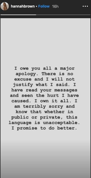 Hannah Brown N-word Instagram Live apology