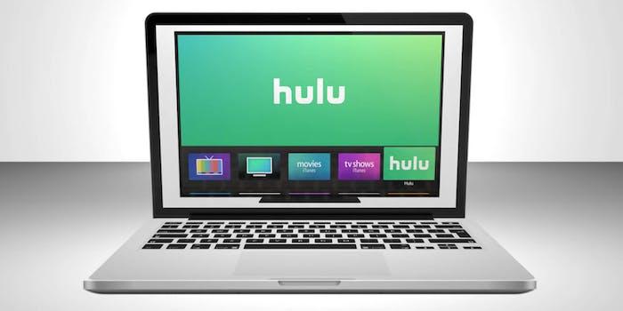 A Macbook with Hulu on the screen