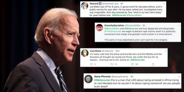Joe Biden next to a series of tweets containing #IbelieveBiden