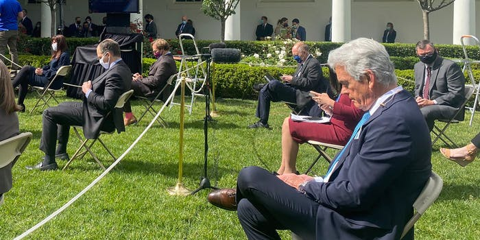 john roberts in white house rose garden without face mask