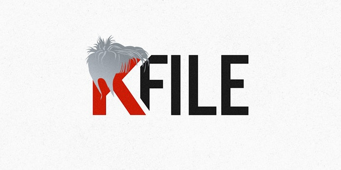 KFILE logo with short spiky wig