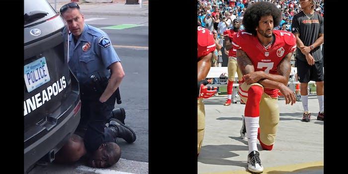 lebron jame's meme of cop kneeling on George Floyd next to photo of Colin Kaepernick kneeling