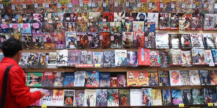 picture of someone looking at marvel comics