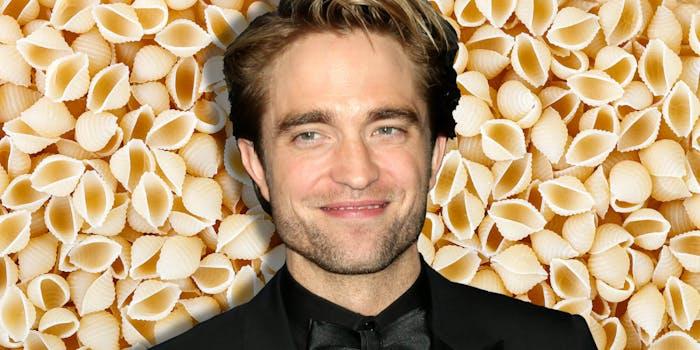 Robert Pattinson over pasta background