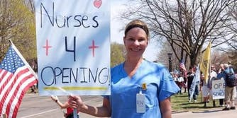 nurses for reopening protester