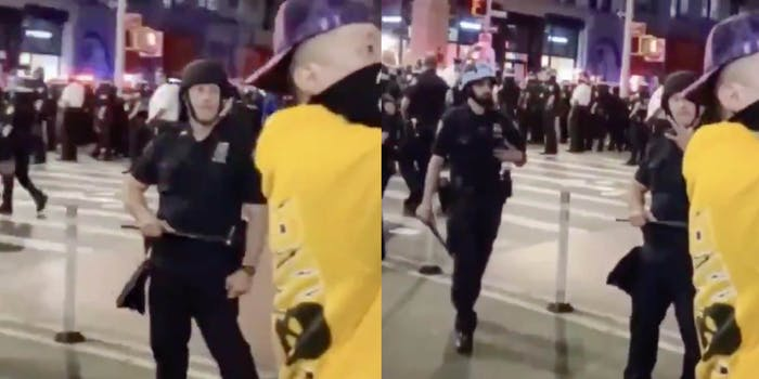 police officer white power protest