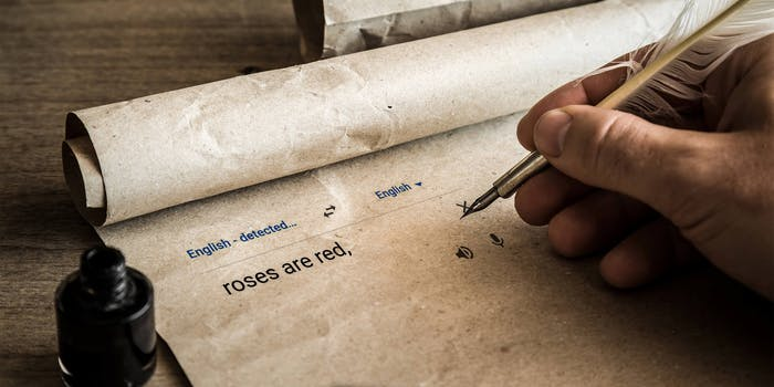 "hand writing ""roses are red"" in google translate box with quill on parchment paper"