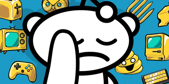 snoo putting hand over sad face in front of reddit award background