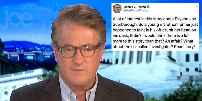 Joe Scarborough next to a tweet from President Donald Trump