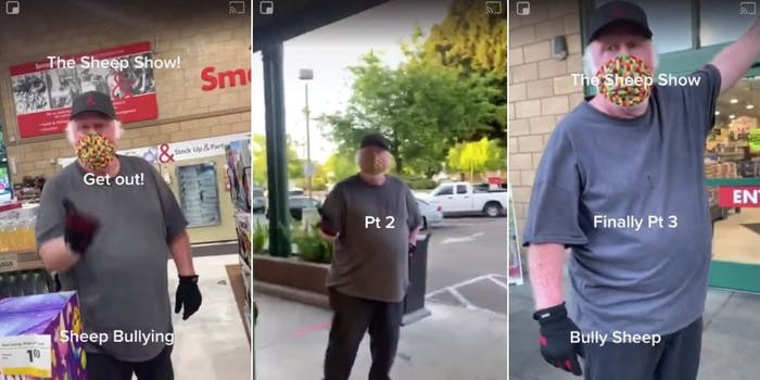 employee yelling at shopper who doesn't want to use a face mask
