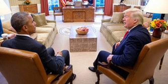 Barack Obama and Donald Trump in the Oval Office