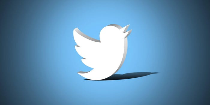 The Twitter bird over a blue background