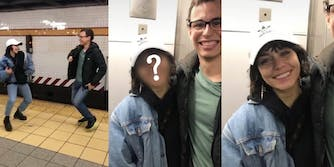 Vanessa Hudgens dancing with a guy on the subway