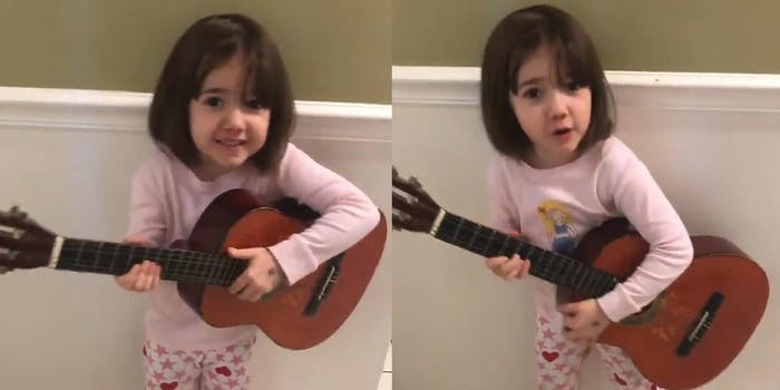 Little girl singing a song called, 'I Wonder What's Inside your Butthole'