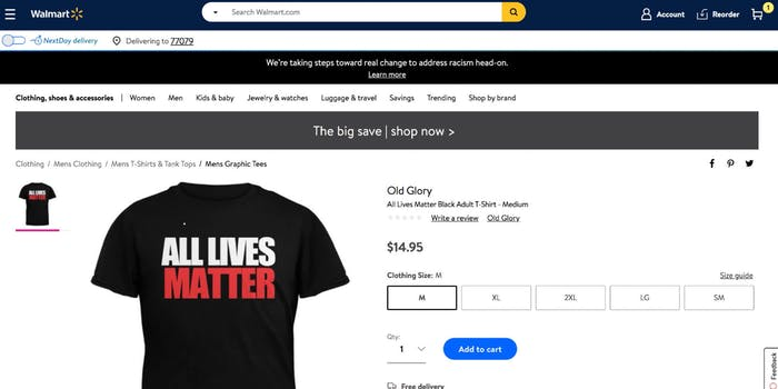 walmart all lives matter tshirt