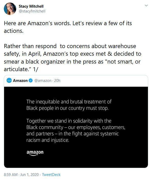 Amazon Protest Statement Tweet