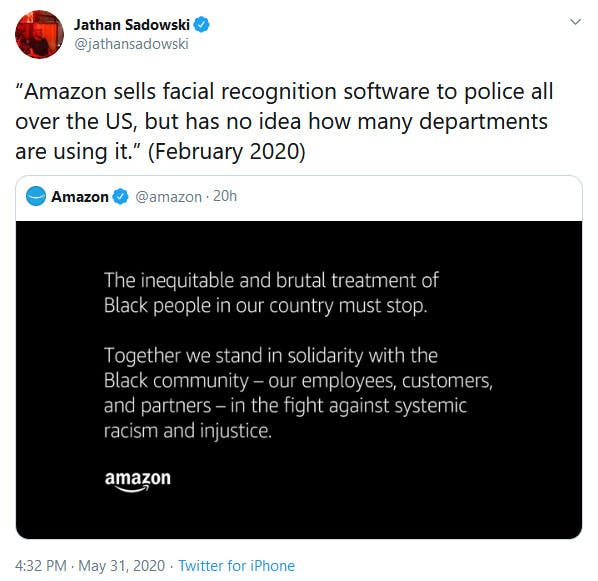 Amazon Protest Tweet