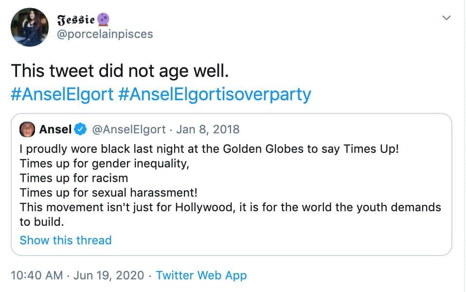 Ansel Elgort - twitter reaction