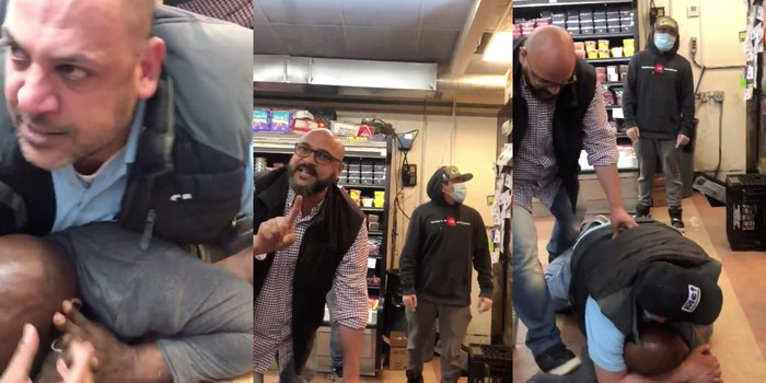 Screengrabs show two employees at Metfoods Supermarket stepping on and putting Black man on chokehold