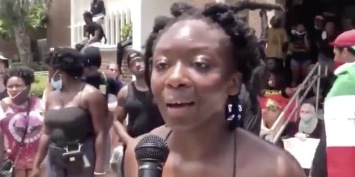 Toyin Salau seen in a video before her death, giving an impassioned speech about the Black Lives Matter revolution