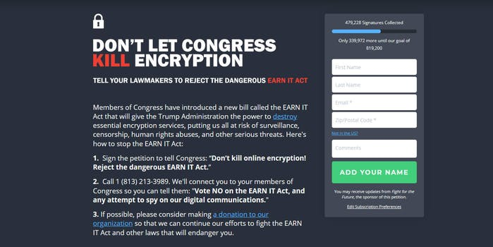 EARN IT Act Petition Fight for the Future Don't Let Congress Kill Encryption