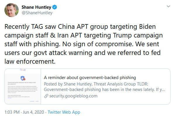 Google Biden Trump Iran China Hacking