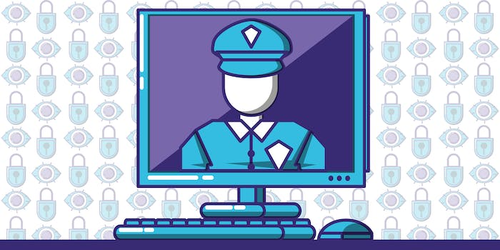 Police officer in computer monitor with alternating lock/eye icons in the background