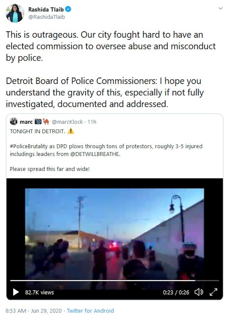 Rashida Tlaib Detroit Police Drive Into Protesters Tweet