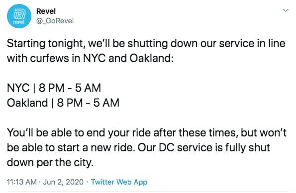 revel curfew shutdown