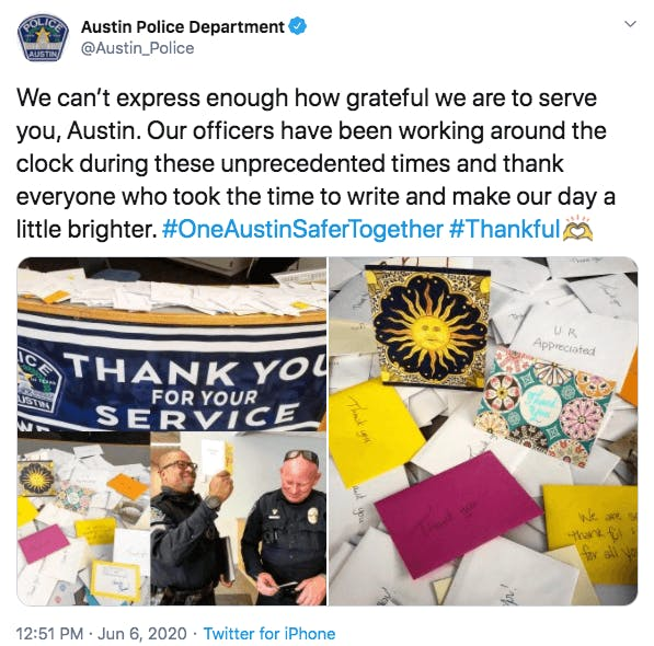 austin police department thank you cards