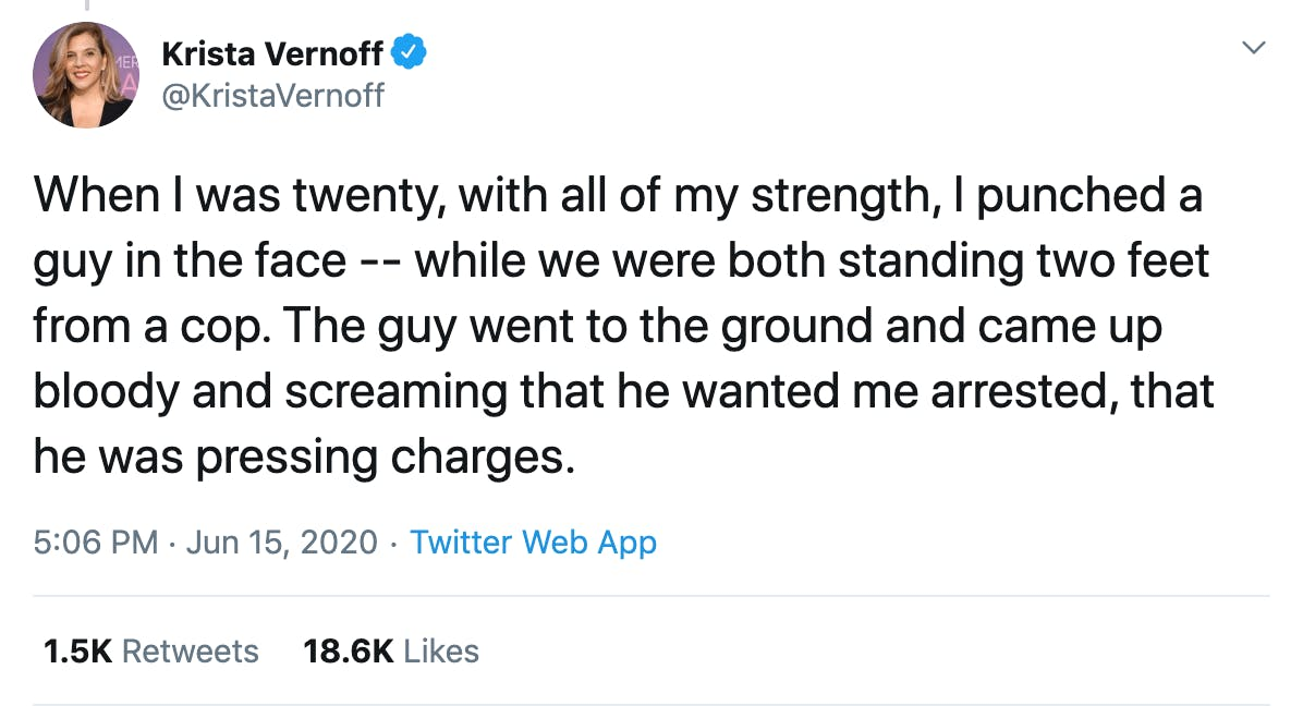When I was twenty, with all of my strength, I punched a guy in the face -- while we were both standing two feet from a cop. The guy went to the ground and came up bloody and screaming that he wanted me arrested, that he was pressing charges.