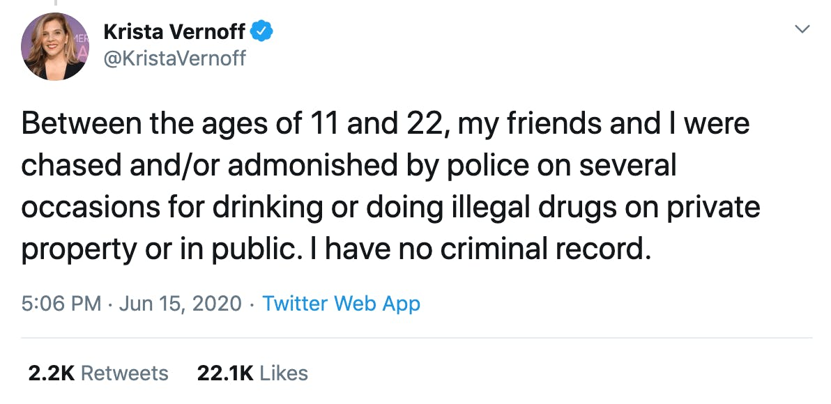 Between the ages of 11 and 22, my friends and I were chased and/or admonished by police on several occasions for drinking or doing illegal drugs on private property or in public. I have no criminal record.