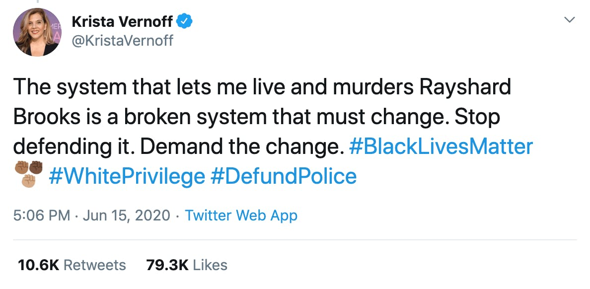 The system that lets me live and murders Rayshard Brooks is a broken system that must change. Stop defending it. Demand the change. #BlackLivesMatter #WhitePrivilege #DefundPolice