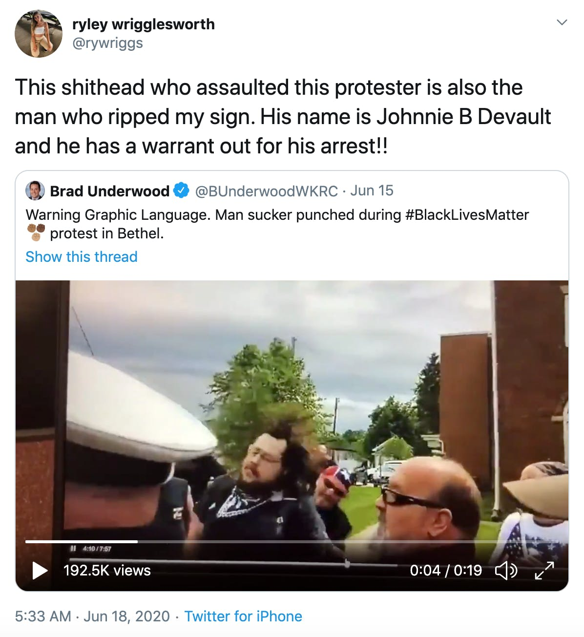This shithead who assaulted this protester is also the man who ripped my sign. His name is Johnnie B Devault and he has a warrant out for his arrest!!