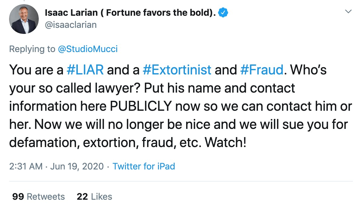 You are a #LIAR and a #Extortinist and #Fraud. Who's your so called lawyer? Put his name and contact information here PUBLICLY now so we can contact him or her. Now we will no longer be nice and we will sue you for defamation, extortion, fraud, etc. Watch!