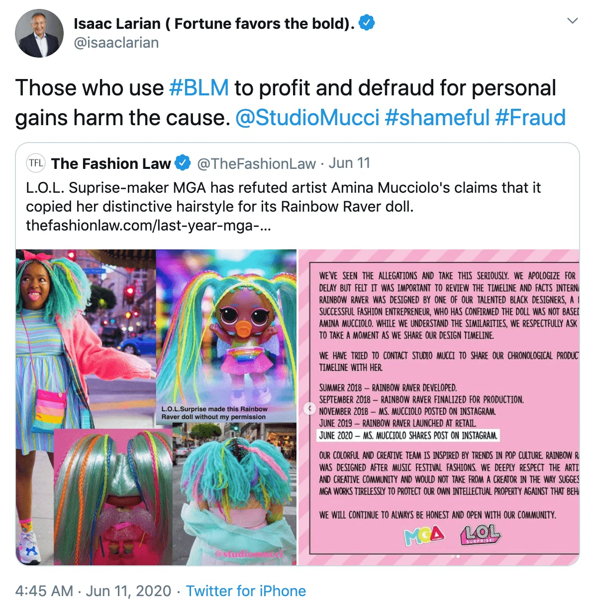 Those who use #BLM to profit and defraud for personal gains harm the cause.  @StudioMucci  #shameful #Fraud