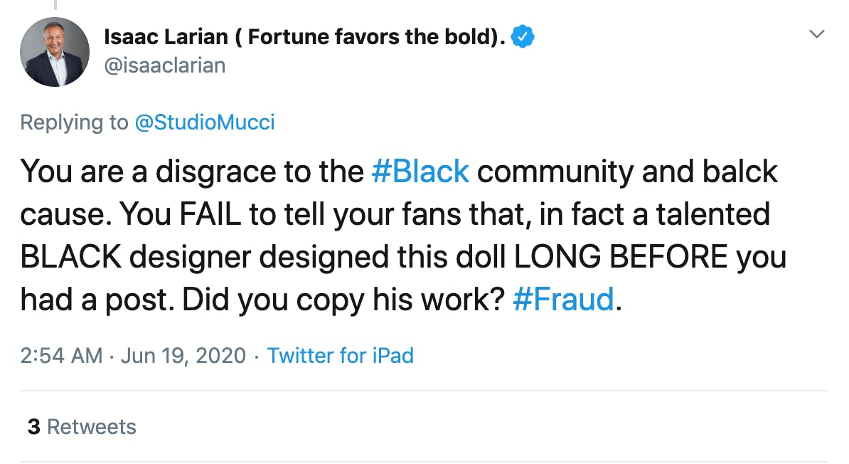 You are a disgrace to the #Black community and balck cause. You FAIL to tell your fans that, in fact a talented BLACK designer designed this doll LONG BEFORE you had a post. Did you copy his work? #Fraud.