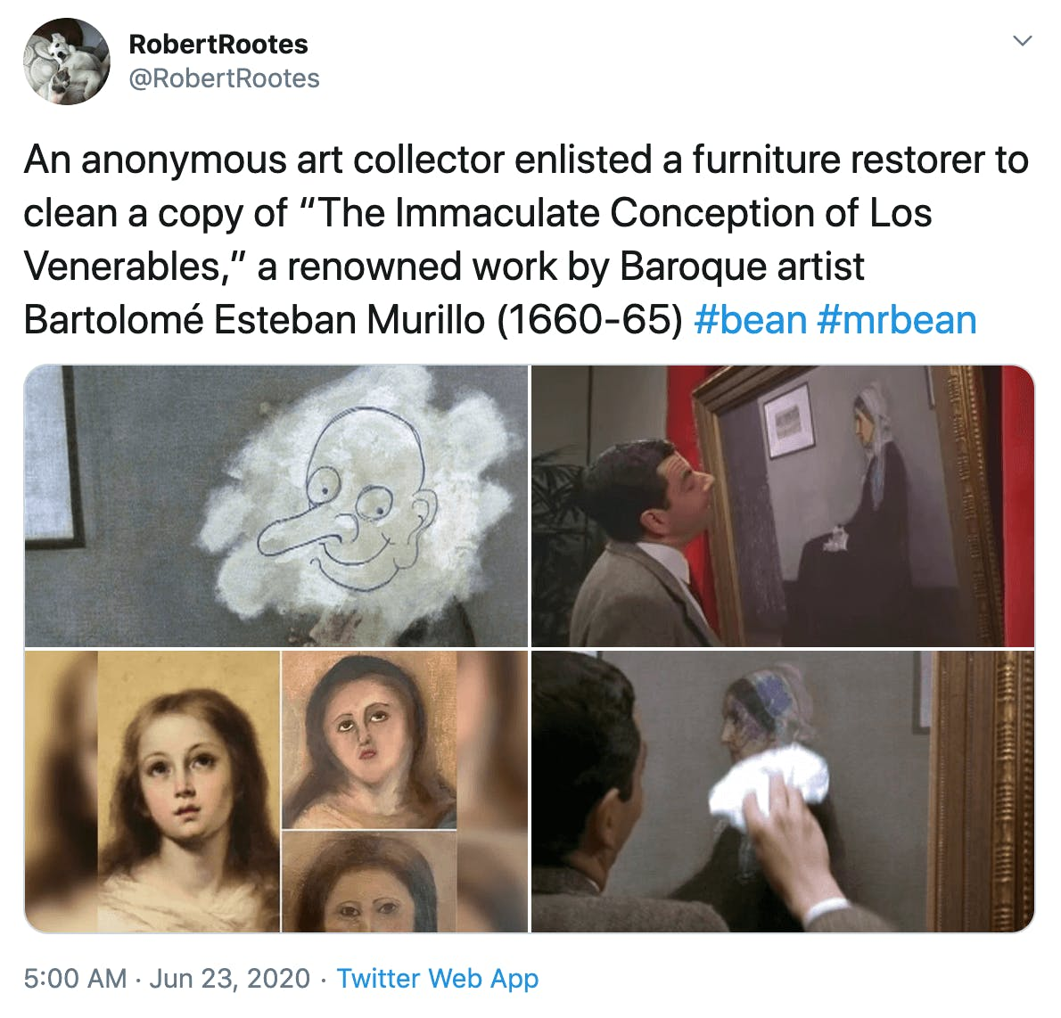 """An anonymous art collector enlisted a furniture restorer to clean a copy of ""The Immaculate Conception of Los Venerables,"" a renowned work by Baroque artist Bartolomé Esteban Murillo (1660-65) #bean #mrbean"" Images of the original and the botched repair next to images from the Mr. Bean movie where Mr. Bean did the same thing"